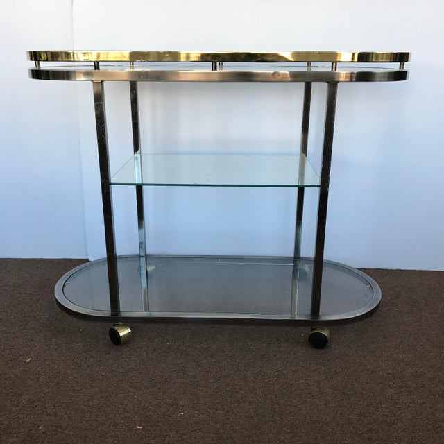 Mid-Century Modern Chrome & Brass Bar Cart - Image 2 of 5