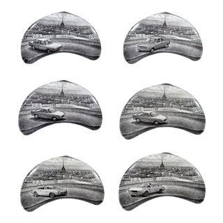 Piero Fornasetti Demilune Porcelain Dishes with Vintage Fiat and the City of Turin