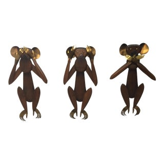 Mid-Century Monkey Wall Sculptures - Set of 3