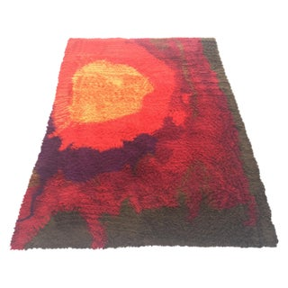 "Mid-Century Abstract RYA Shag Rug - 7'10"" X 10'10"""