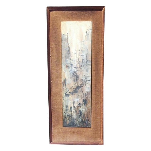 Signed Mid-Century City Scape Oil Painting - Image 1 of 11