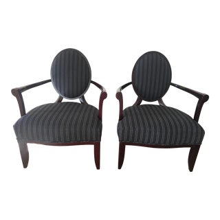 Barbara Barry Oval X-Back Dining Chairs - A Pair