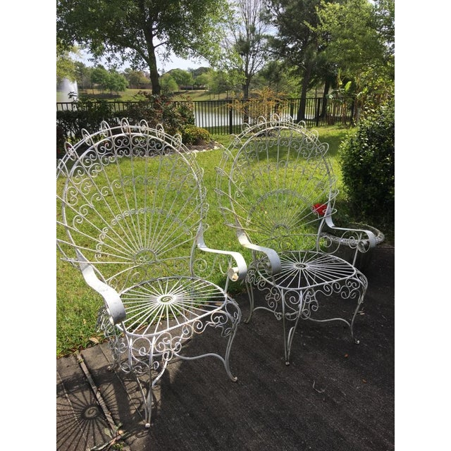 Image of Vintage White Wrought Iron Peacock Chairs - A Pair