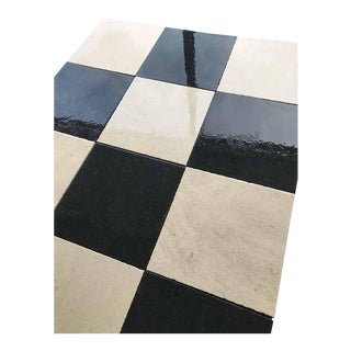 Black and White Limestone Checkerboard Flooring