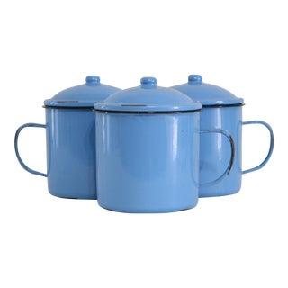 Blue Enamel Soup Bowls - Set of 3