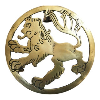 English Brass Lion Trivet