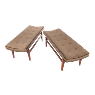 PAIR OF 1960S CANTILEVERED WALNUT AND MOHAIR BENCHES BY JENS RISOM