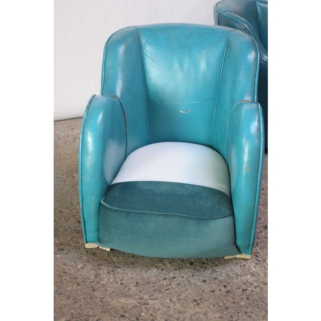Scandinavian Deco Club Chairs in Blue Leather and Velvet - Image 10 of 11