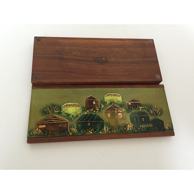Sascha Brastoff Wood Box with Enamel Cover - Image 3 of 4