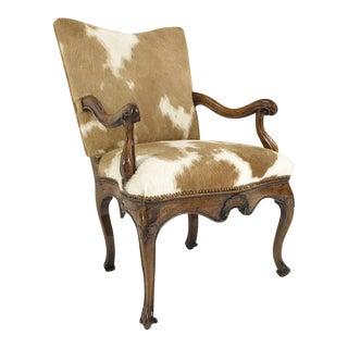 1770s Antique Italian Walnut Armchair Restored in Brazilian Cowhide