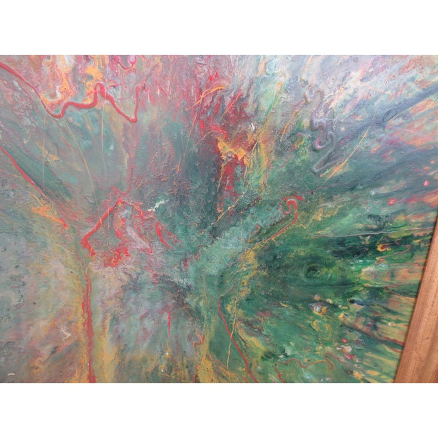 Large Colorful 1960s Abstract Oil - Image 5 of 8
