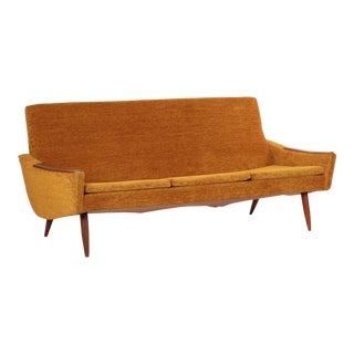 Scandinavian Mid Century Modern Orange Sculpted Walnut Sofa circa 1960s. Gently Used   Vintage Danish Modern Furniture for Sale at Chairish