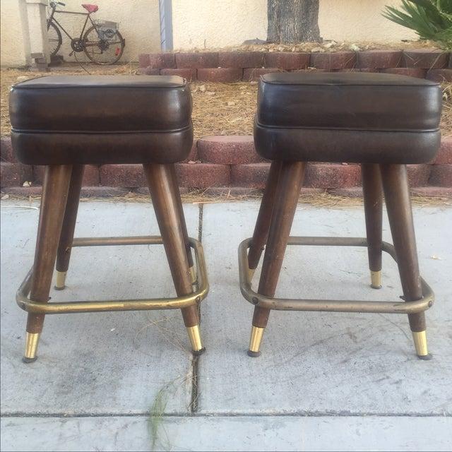 Vintage Mcm Bar Stools With Brass Feet Pair Chairish