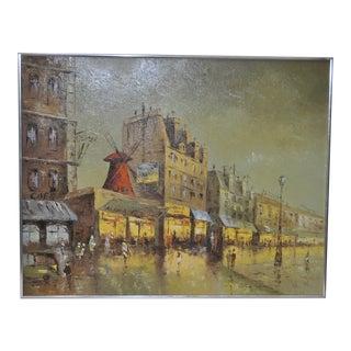 1970s Vintage Moulin Rouge Paris Oil Painting