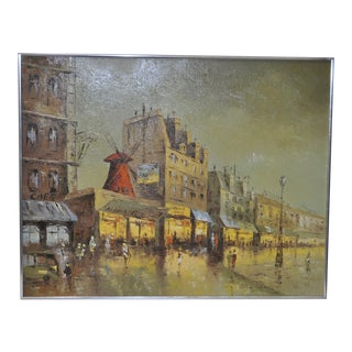 1970s Vintage Moulin Rouge Paris Oil Painting