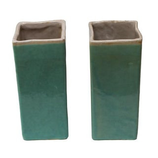 Turquoise Drip Glaze Vases - A Pair