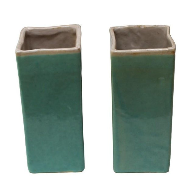 Turquoise Drip Glaze Vases - A Pair - Image 1 of 4