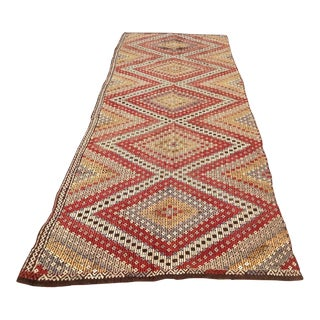 "Vintage Turkish Kilim Runner - 4'6"" x 12'1"""