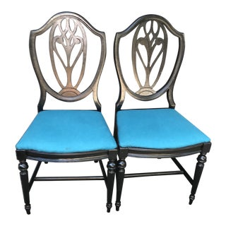 Turquoise Cashmere French Chairs - A Pair