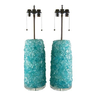 Rock Candy Glass Lamps in Tiffany Blue