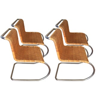 Mid-Century Modern Mies Van Der Rohe Style Cantilever Chairs- Set of 4