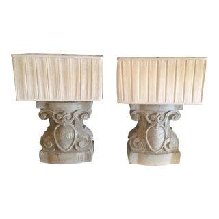 Poured Concrete Jacobean Revival Lamps - A Pair
