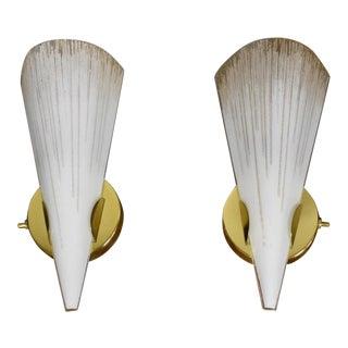 Lightolier Brass & Glass Wall Sconces - A Pair