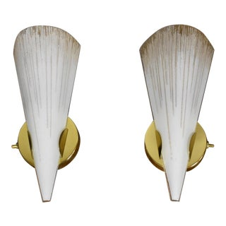 Lightolier Brass & Glass Wall Sconces - A Pair