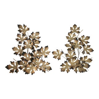 Mid Century Metal Leaf Wall Sculptures - A Pair