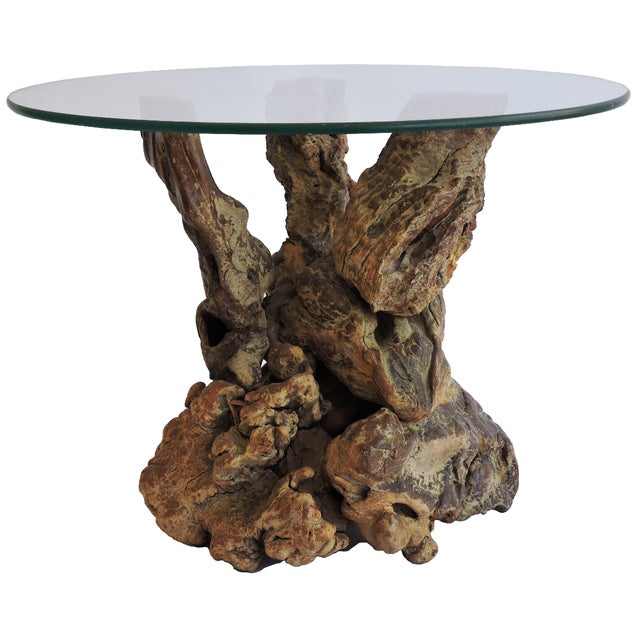 Round Glass Top Rustic Wood Table - Image 1 of 3