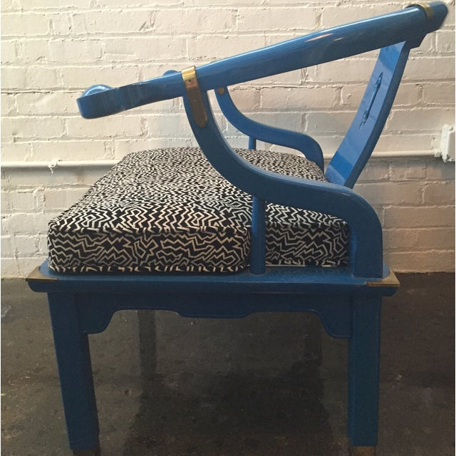 Century Furniture Electric Blue Asian Style Chair - Image 5 of 8