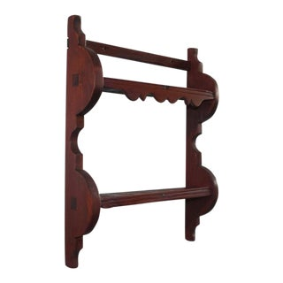 Early 18th Century Original Red Painted Spoon Rack