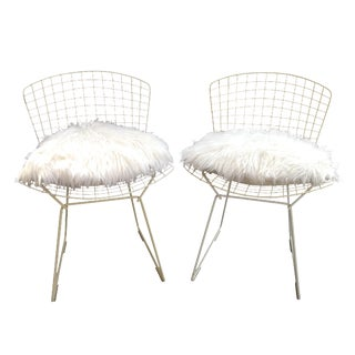 Vintage White Wire Knoll Bertoia Chairs - A Pair