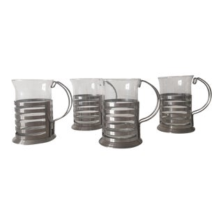 Stainless Steel & Glass Carafe Coffee Cups - 4