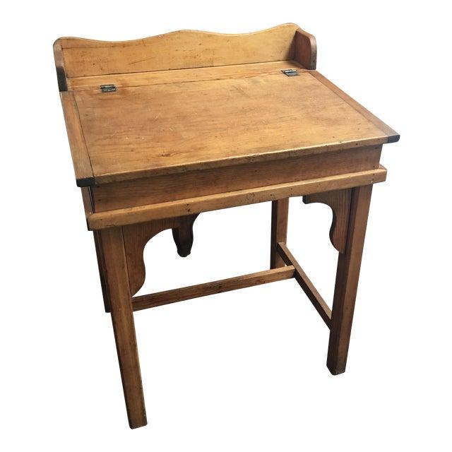 Antique Country Pine Slant Top Children's School Desk - Image 1 of 11