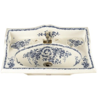 Porcelain Sink Basin With Blue Floral Pattern