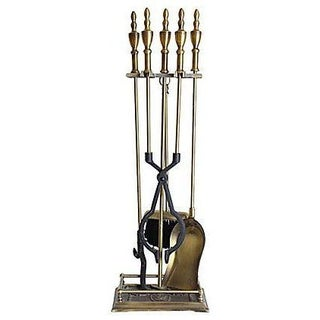 Vintage Iron & Brass Fireplace Set