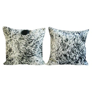 Freckled Cowhide & Down Feather Pillows - A Pair