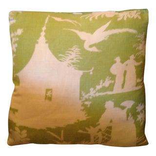 Green Chinoiserie Throw Pillows - Set of 4