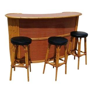 Mid- Century Art Deco Style Rattan Bar & Stools - Set of 4