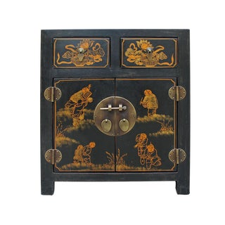 Black Lacquered Chinese Nightstand