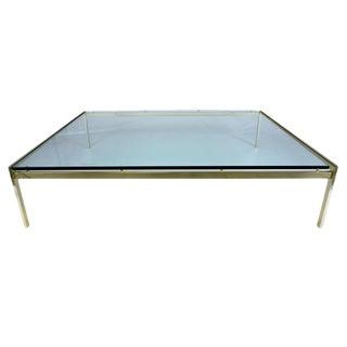 Mid-Century Modern Glass & Brass Coffee Table
