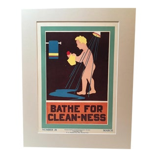 "Vintage 1930's ""Bathe for Clean-Ness"" Classroom Poster"