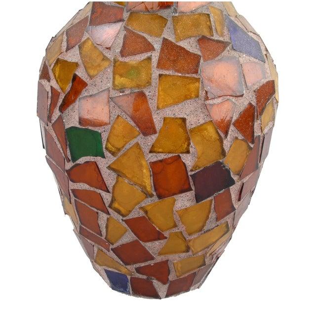 Amber Glass Mosaic & Terracotta Vase - Image 2 of 6