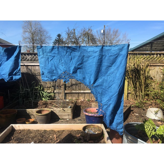 Vintage Linen Indigo Dyed Cafe Curtain Set - A Pair - Image 4 of 7
