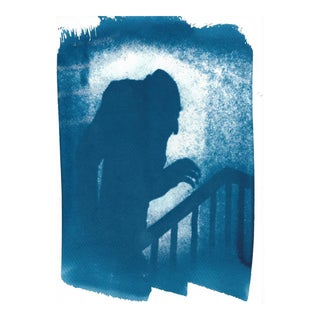 Limited Edition, Nosferatu Film Still Cyanotype, Shadow of Nosferatu on Watercolor Paper