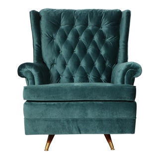 Mid-Century Tufted Teal Rocking Chair