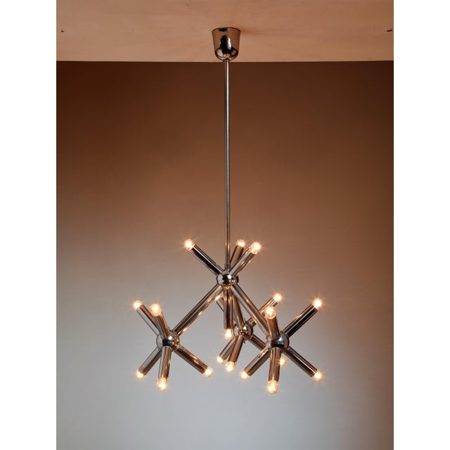 Modernist Metal Chandelier, Germany, 1960s - Image 2 of 3