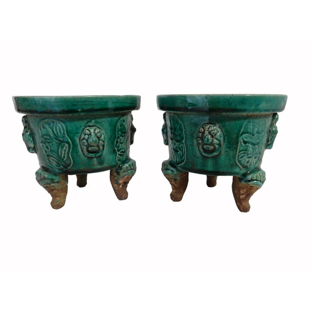 Image of Asian Celadon Ceramic Incense Burners- A Pair