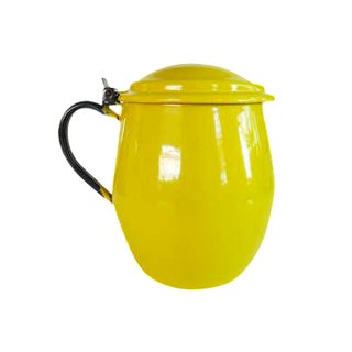 Vintage Yellow Enamel Flip Lid Pitcher Vase